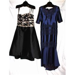 Lot [2] DRESSES:  [1] Rose Taft silk with lace dress, size 12 and [1] Lace bodice black dress, size