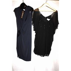 Lot [2] DRESSES:  [1] Badgley Mischka black sequins dress, size 8 and [1] St. Thomas blue draped dre