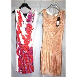 Lot [3] DRESSES: [1] Roberto Cavalli sleeveless print dress, size 6, [1] Hoss Intropia print dress,