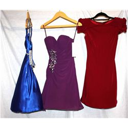 Description Change:Lot [3] DRESSES:  [1] Faviana Couture blue dress, size 0, [1] ABS red dress,