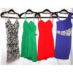 Lot [4] DRESSES:  [1] Faviana Glamour sapphire dress, size 0, [1] Faviana Couture red dress, size 0,