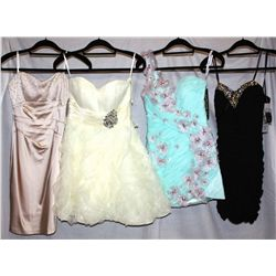 Lot [4] DRESSES:  [1] Faviana New York black dress, size 2, [1] Mint color dress, size 2, [1] Jovani