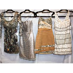 Lot [4] DRESSES:  [1] Musani Gold dress, size 2, [1] St. Thomas nude bustier dress, size 2, [1] Juan