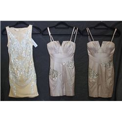 Lot [3] DRESSES:  [1] Faviana New York metal dress, size 2, [1] Faviana strapless metal dress, size