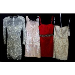 Lot [4] DRESSES:  [1] Jovani lace and sequin dress, size 4, [1] Faviana strapless red dress, size sm