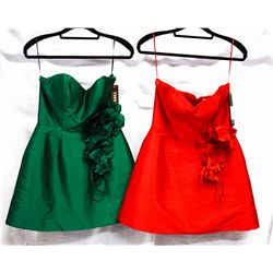 Lot [2] DRESSES:  [1] Juan Carlos Pinera red dress, size Medium and [1] Juan Carlos Pinera green dre