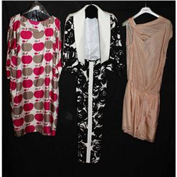 Lot [3] PIECES:  [1] Hoss Intropia scoop neck tie side dress, size 8, [1] Floral print pant, size 8
