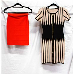 Lot [2] PIECES:  [1] Print dress and [1] Red skirt, size Medium