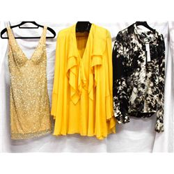Lot [3] PIECES:  [1] JustCavalli silk long sleeve printed blouse, size 10, [1] Plein Sud long sleeve
