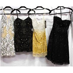 Lot [4] DRESSES:  [1] Jovani black lace dress, size 8, [1] Musani Couture gold dress, size 8, [1] Mu