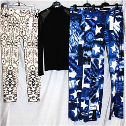Lot [4] PIECES:  [2] JustCavalli star print pants, sizes 10 and 8, [1] Isabel De Pedro lace trim top