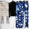 Lot [4] PIECES:  [2] JustCavalli star print pants, sizes 10 and 8, [1] Isabel De Pedro lace trim top