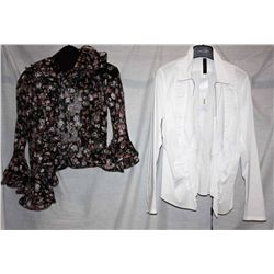 Lot [2] PIECES:  [1] Marccain white blouse with zipper and ruffles in front, size 8 and [1] Louise r