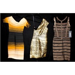 Lot [3] DRESSES:  [1] Musani Gold black bandage dress, size 9, [1] Musani Gold bandage dress, size s