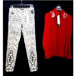 Lot [2] PIECES:  [1] JustCavalli red blouse, size 6 and [1] JustCavalli animal print jeans, size 6