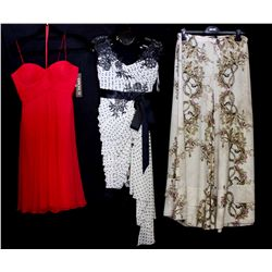 Lot [3] PIECES:  [1] JustCavalli wide leg printed pant, size small, [1] Mandalay off shoulder lace d