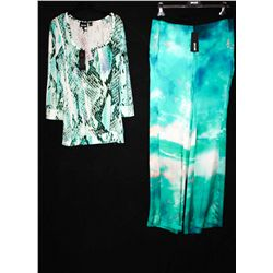 Lot [2] PIECES:  [1] JustCavalli print silk pants, size 4 and [1] JustCavalli printed long sleeve to
