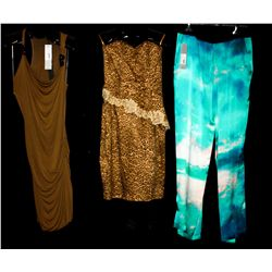 Lot [3] PIECES:  [1] JustCavalli print silk pants, size 6, [1] Yolanda Arce animal print bustier and