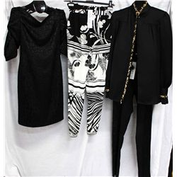 Lot [4] PIECES:  [1] Louise black v neck, size 8, [1] Roberto Cavalli flower print silk pants, size