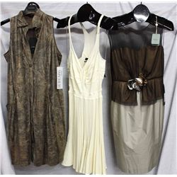 Lot [3] DRESSES:  [1] Javier Simorra short dress and belt, size 8, [1] Plein Sud Jeanius ivory dress