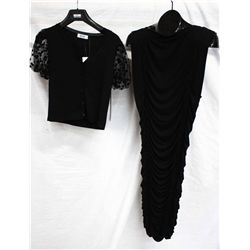 Lot [2] PIECES:  [1] Plein Sud Jeanius black dress, size 8 and [1] Moschino black short sweater, siz