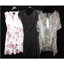 Lot [3] PIECES:  [1] Marccain animal print tunic, size 10, [1] Hoss navy velvet dress, size 10 and [