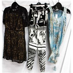 Description Change:Lot [3] DRESSES:  [1] Hoss lace dress, size 12, [1] Roberto Cavalli flower print