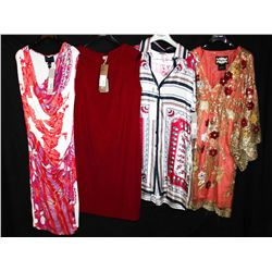 Lot [4] PIECES:  [1] Roberto Cavalli sleeveless print dress, size 8, [1] Hoss red dress, size 8, [1]