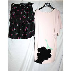 Lot [2] PIECES:  [1] Moschino strawberry print skirt, size 6 and [1] Moschino cap sleeve dress, size