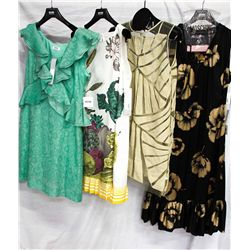Lot [4] DRESSES:  [1] Moschino green dress, size 10, [1] Moschino fruit print dress, size 10, [1] Ho