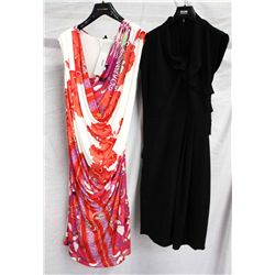 Lot [2] DRESSES:  [1] Roberto Cavalli print dress, size 10 and [1] Hoss open back black dress, size