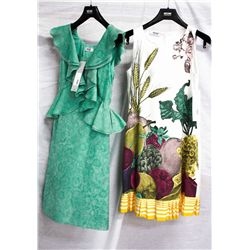 Lot [2] DRESSES:  [1] Moschino green dress, size 2 and [1] Moschino fruit print dress, size 2