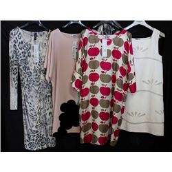 Lot [4] DRESSES:  [1] Marccain animal print dress, size 4, [1] Moschino pink dress, size 4, [1] Mosc