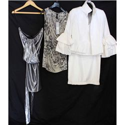 Lot [3] PIECES:  [1] Jay Godfrey silver dress, size 6, [1] Marccain animal print tunic, size 6 and [