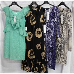 Lot [4] DRESSES:  [1] Moschino green dress, size 6, [1] Moschino print dress, size 44, [1] Isabel De
