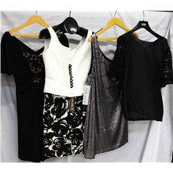 Lot [4] PIECES:  [1] Badgley Mischka black dress, size 8, [1] Louise black and white print skirt, si
