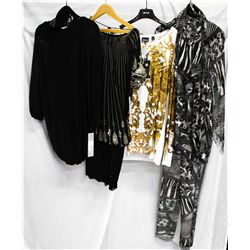 Lot [4] PIECES:  [1] Plein Sud Jeanius black knit dress, size 8, [1] Black lace skirt, size 8, [1] J