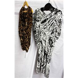 Lot [2] PIECES:  [1] Musani leopard wrap top, size 8 and [1] Roberto Cavalli print tunic, size 8