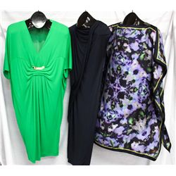 Lot [3] PIECES:  [1] Roberto Cavalli emerald green dress, size 4, [1] St. Thomas blue dress, size 4