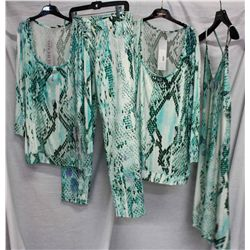 Lot [4] PIECES:  [1] JustCavalli animal print long sleeve top, size Large, [1] JustCavalli animal pr