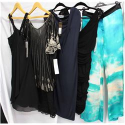 Lot [5] DRESSES:  [1] LM Collection halter black dress, size 12, [1] Julian Joyce black dress, size