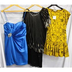Lot [3] PIECES:  [1] LM Collection strapless royal blue dress, size 10, [1] Moschino flower blouse,