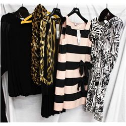Lot [5] PIECES:  [1] Plein Sud Jeanius long sleeve black dress, size 10, [1] Musani animal print dra