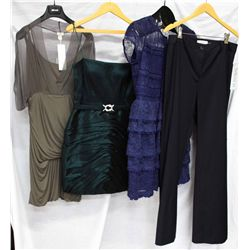 Lot [4] PIECES:  [1] Hoss green dress, size Medium, [1] LM Collection teal dress, size 10, [1] Teri