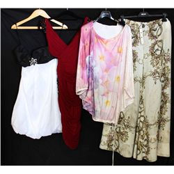 Lot [4] PIECES:  [1] Jovani black and white dress, size 10, [1] Musani red dress, size Large, [1] Ro