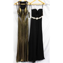 Lot [2] DRESSES:  [1] Faviana gold dress, size 2 and [1] Jovani black dress, size 2