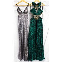 Lot [2] DRESSES: [1] Favaina silver dress, size 2 and [1] MacDuggal animal print dress, size 2