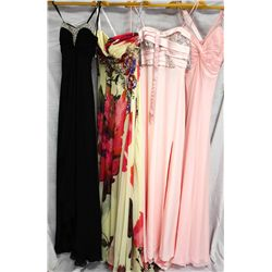 Lot [4] DRESSES:  [1] Favaina black dress, size 2, [1] MacDuggal ivory print dress, size 2, [1] Fava