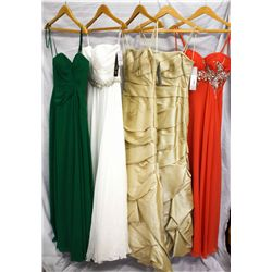 Description Change:Lot [5] DRESSES:  [1] Favaina green dress, size 2, [1] Jovani white dress with rh