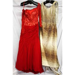 Lot [2] DRESSES:  [1] Stephen Yearick red dress, size 10 and [1] Rose Taft gold dress, size 10